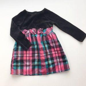 Healthtex Black Velvet And Pink Plaid Dress 4T